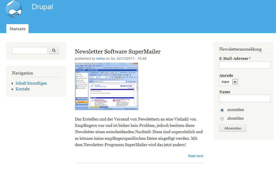newsletter software supermailer modul newsletteranmeldung und newsletterabmneldung mit drupal 6. Black Bedroom Furniture Sets. Home Design Ideas