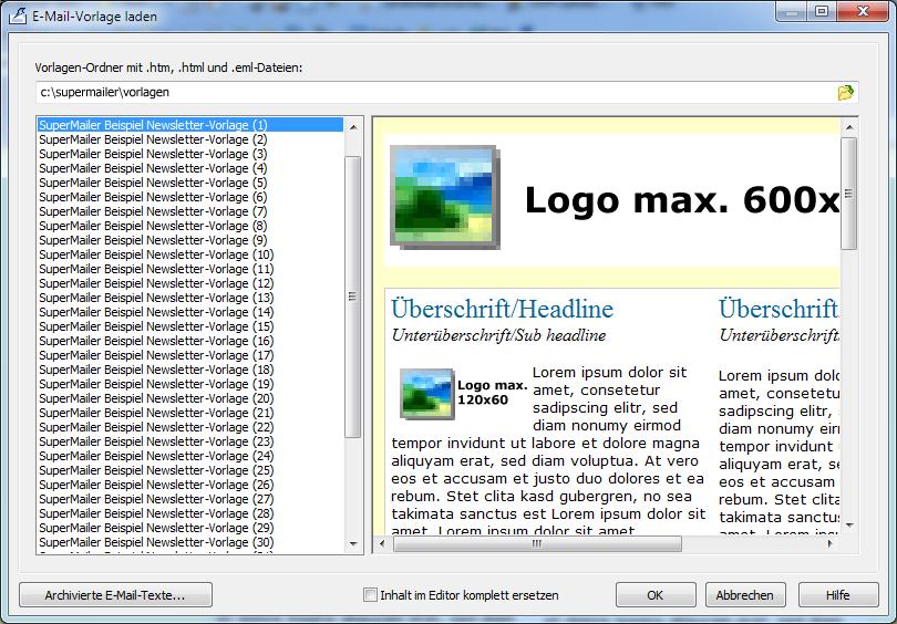 newsletter software supermailer newsletter html vorlage